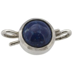 Silver and Cabochon-Cut Sodalite Clasp by Lucie Heskett Brem
