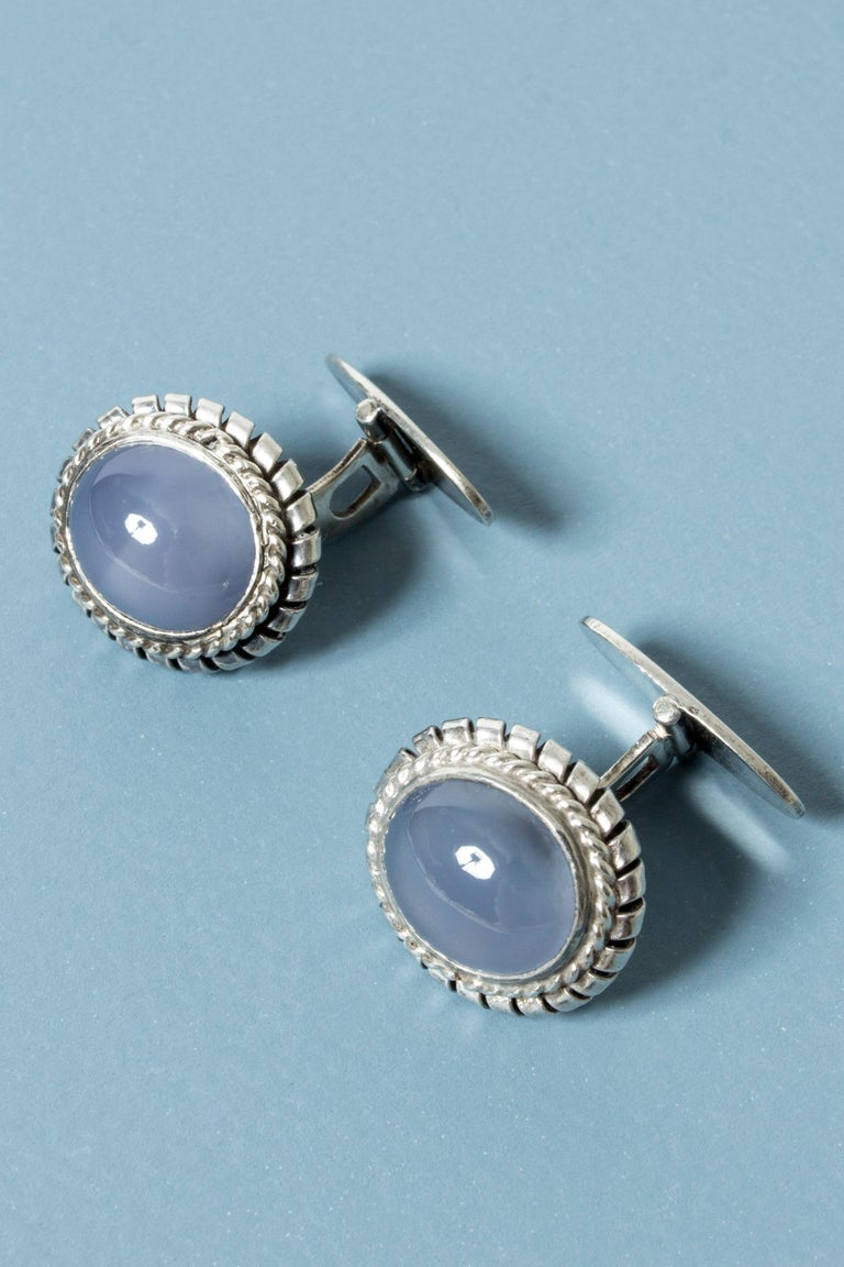 Modernist Silver and Chalcedony Cufflinks from Kaplans, Sweden, 1952 For Sale