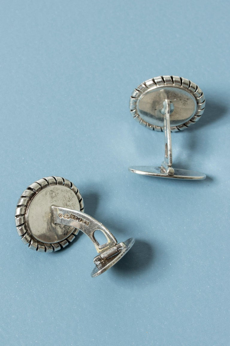 Ball Cut Silver and Chalcedony Cufflinks from Kaplans, Sweden, 1952 For Sale