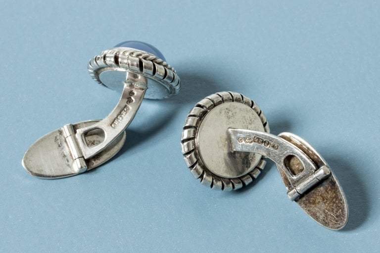 Silver and Chalcedony Cufflinks from Kaplans, Sweden, 1952 In Good Condition For Sale In Stockholm, SE