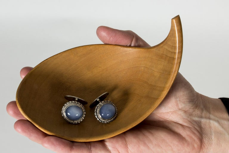Women's or Men's Silver and Chalcedony Cufflinks from Kaplans, Sweden, 1952 For Sale