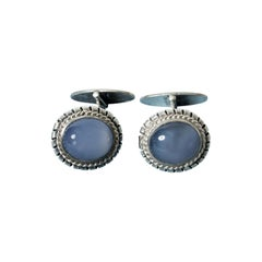 Silver and Chalcedony Cufflinks from Kaplans, Sweden, 1952