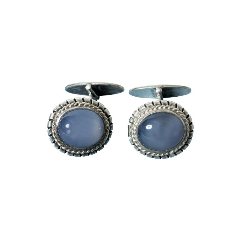 Silver and Chalcedony Cufflinks from Kaplans, Sweden, 1952 For Sale