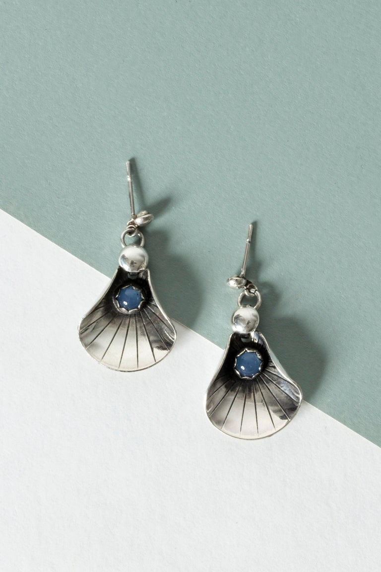 Modernist Silver and Chalcedony Earrings from Alton, Sweden, 1960s For Sale