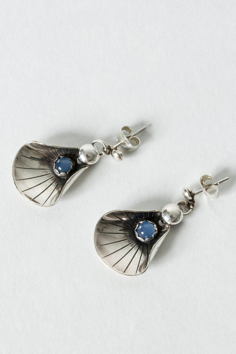 Ball Cut Silver and Chalcedony Earrings from Alton, Sweden, 1960s For Sale