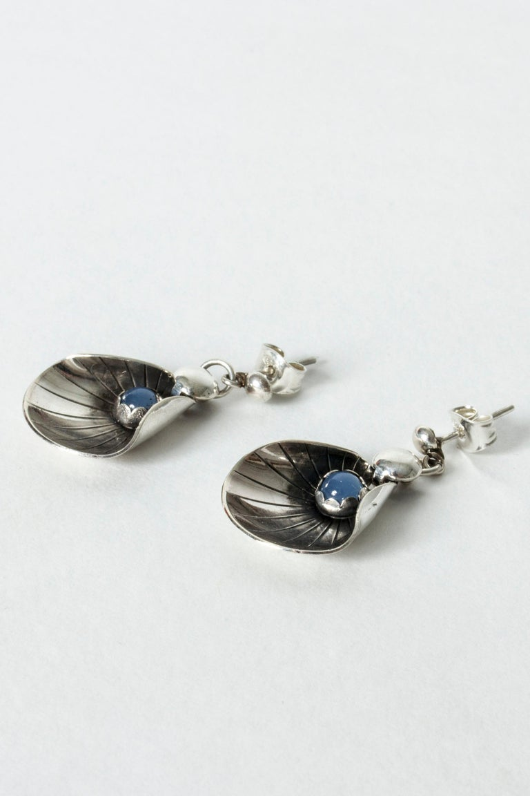 Silver and Chalcedony Earrings from Alton, Sweden, 1960s In Good Condition For Sale In Stockholm, SE