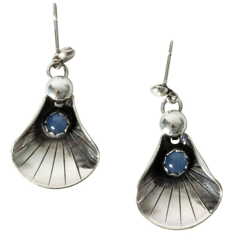 Silver and Chalcedony Earrings from Alton, Sweden, 1960s For Sale