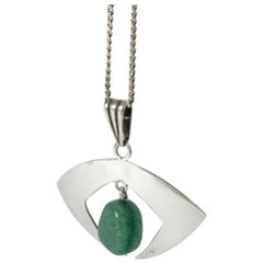 Silver and Chrysoprase Pendant from Gussi, Sweden, 1962