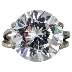 Silver and Clear Stone Solitaire Statement Ring circa 1970s