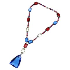 Silver and coloured faceted glass sautoir necklace, France, 1920s