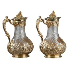 Silver and Crystal Pair of Jugs, Tetard