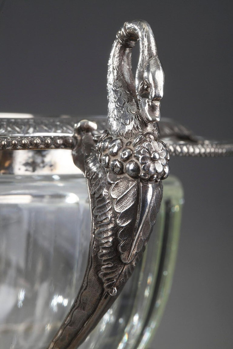 Silver and Cut-Crystal Confiturier For Sale 9