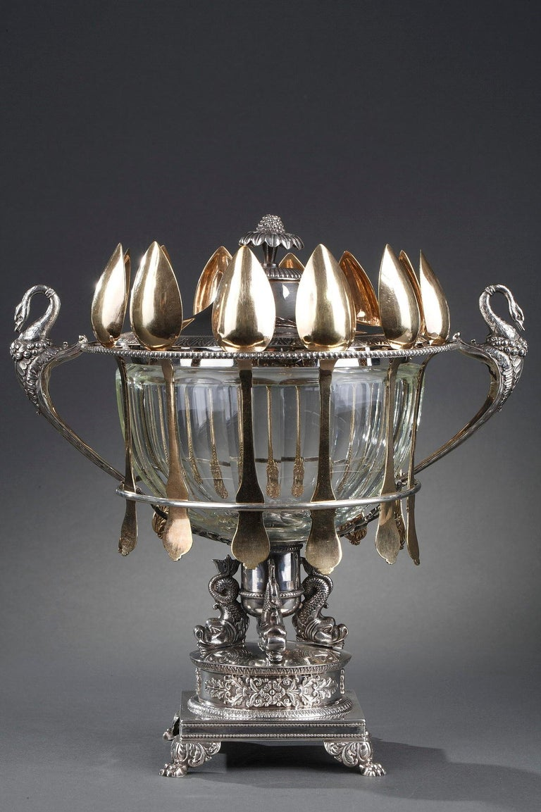 Silver and Cut-Crystal Confiturier For Sale 11