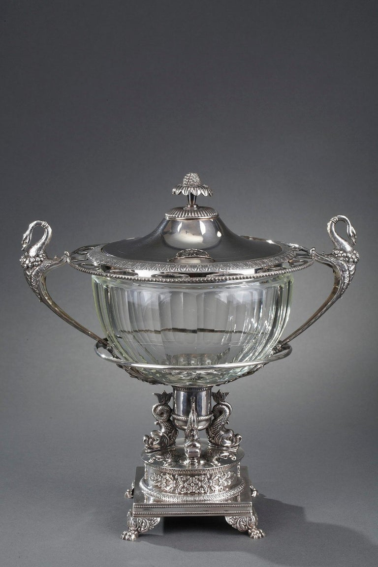 Restauration Silver and Cut-Crystal Confiturier For Sale