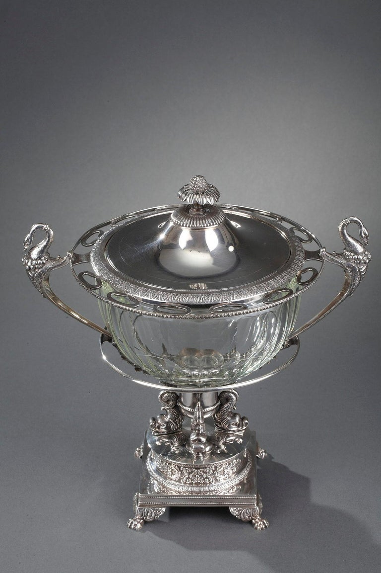 French Silver and Cut-Crystal Confiturier For Sale