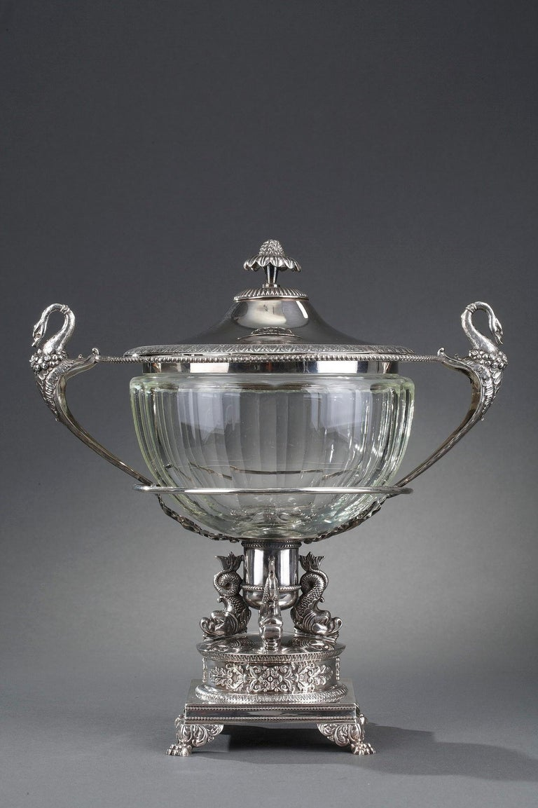 Silver and Cut-Crystal Confiturier In Good Condition For Sale In Paris, FR
