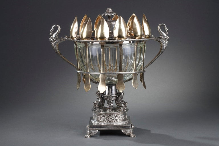 Early 19th Century Silver and Cut-Crystal Confiturier For Sale
