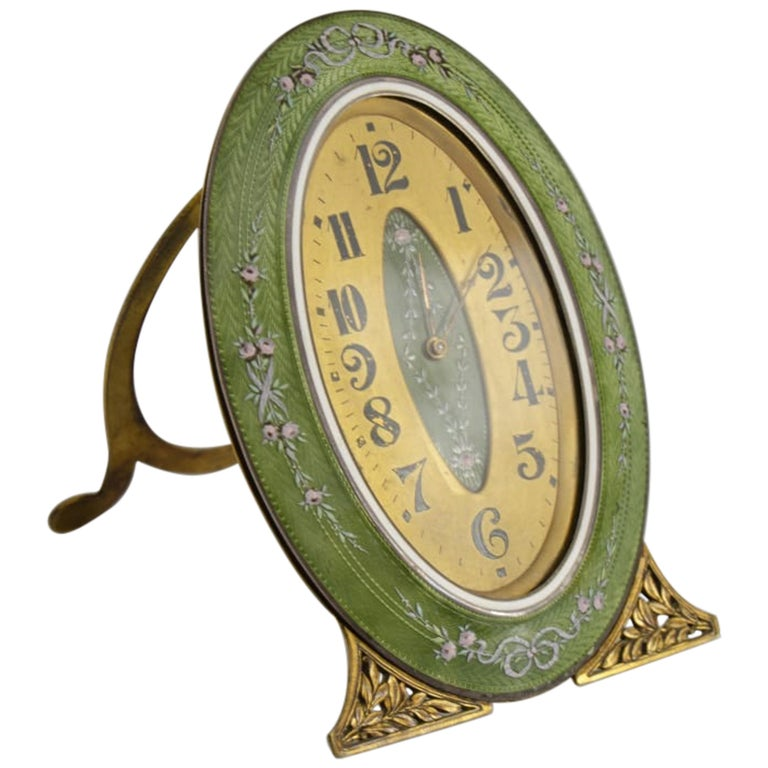 Silver and Enamel clock For Sale