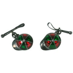 Silver and Enamel Jockey Cufflinks
