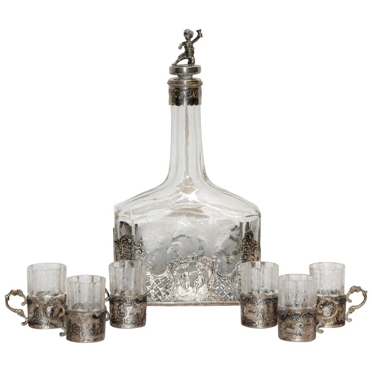 Silver and Engraved Crystal Decanter and Cordial Cups For Sale