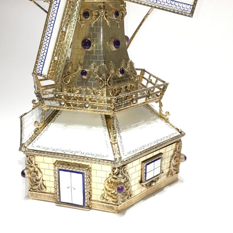 Silver, and Gilded Silver Dutch Windmill Miniature with Music Box, Handmade For Sale 5