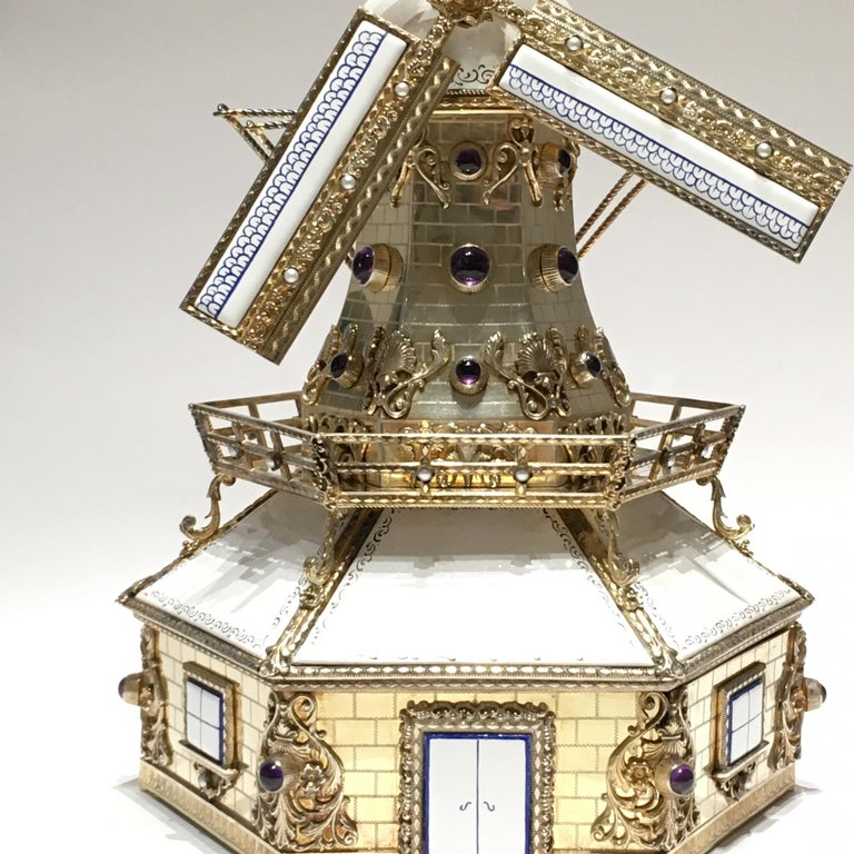 Silver, and Gilded Silver Dutch Windmill Miniature with Music Box, Handmade For Sale 8