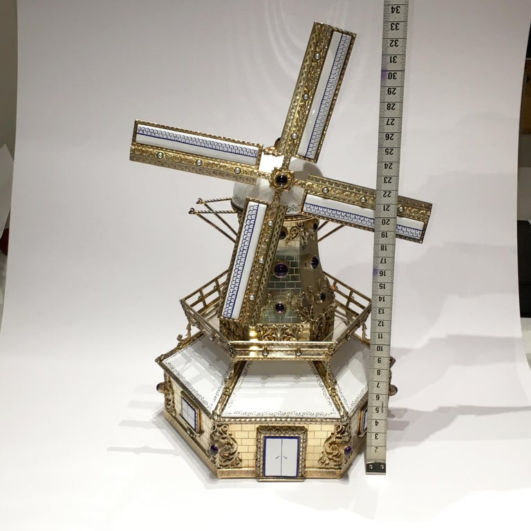 Silver, and Gilded Silver Dutch Windmill Miniature with Music Box, Handmade For Sale 9
