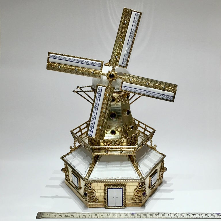 Silver, and Gilded Silver Dutch Windmill Miniature with Music Box, Handmade For Sale 10