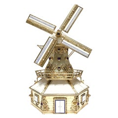 Silver, and Gilded Silver Dutch Windmill Miniature with Music Box, Handmade