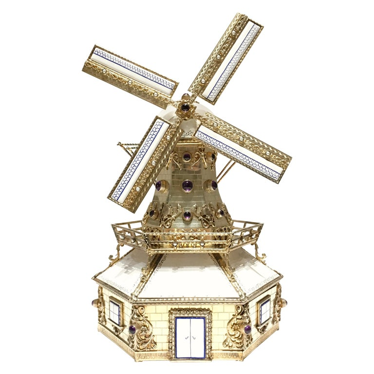 Silver, and Gilded Silver Dutch Windmill Miniature with Music Box, Handmade For Sale