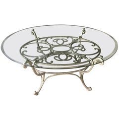 Silver and Glass Oval Coffee Table