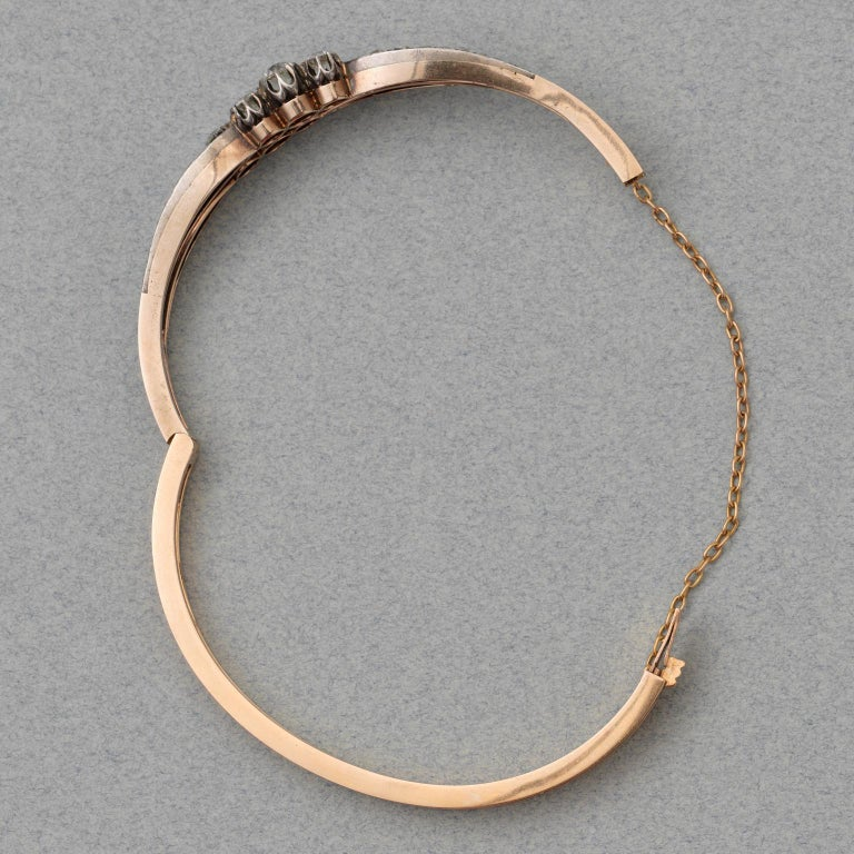 Silver and Gold and Old Cut Diamond Victorian Bangle In Good Condition For Sale In Amsterdam, NL