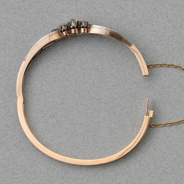 Women's or Men's Silver and Gold and Old Cut Diamond Victorian Bangle For Sale
