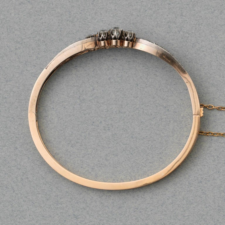 Silver and Gold and Old Cut Diamond Victorian Bangle For Sale 1