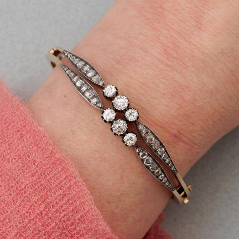 Silver and Gold and Old Cut Diamond Victorian Bangle For Sale 2
