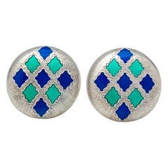 Silver and Gold Buccellati Earrings Enhanced with Enamel