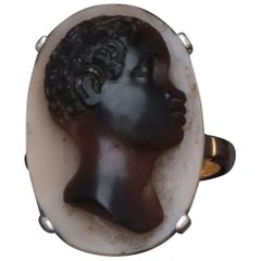 Silver and Gold Cameo on Agate Ring