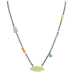 Silver and Gold Chain Necklace with Aquamarine, Blue Topaz, Citrine & Opal