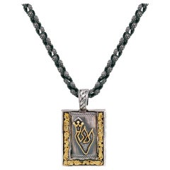 Silver and Gold Jewish Mezuzah Pendant Necklace with Chain Stambolian