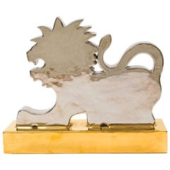 Silver and Gold Lion Sculpture by Ugo Zaccagnini