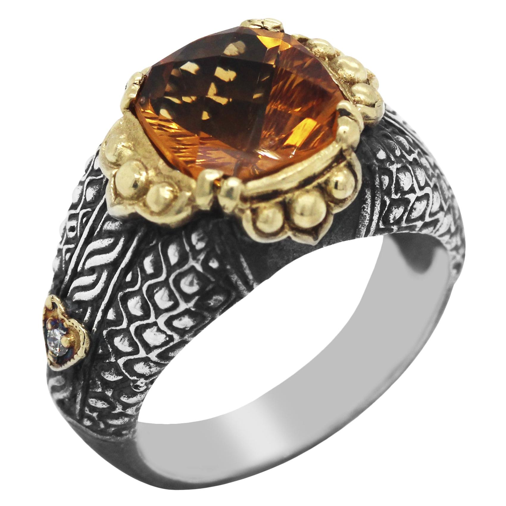 Silver and Gold Ring with Diamonds and Citrine Center Stambolian