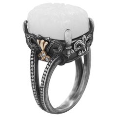 Silver and Gold Ring with Diamonds and Floral Carved White Moonstone Stambolian