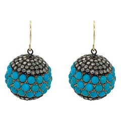 Silver and Gold Turquoise Rose Cut Diamond Ball Earrings