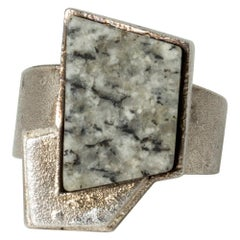 Silver and Granite Ring by Björn Weckström for Lapponia, Finland, 1986