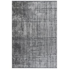 Silver and Gray Contemporary Abstract Pattern Luxury Soft Semi-Plush Rug