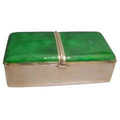Silver and Green Guilloche Enamel Cigarette Box