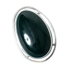 Silver and Green Modernist Agate Brooch/Pendant from Michelsen, Sweden, 1962
