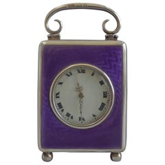Silver and Guilloche enamel Miniature Carriage Clock by the Geneva Clock Company