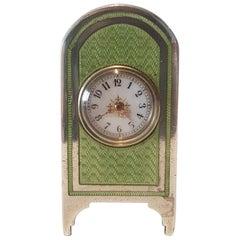 Silver and Guilloche Enamel Sub Miniature Carriage Clock