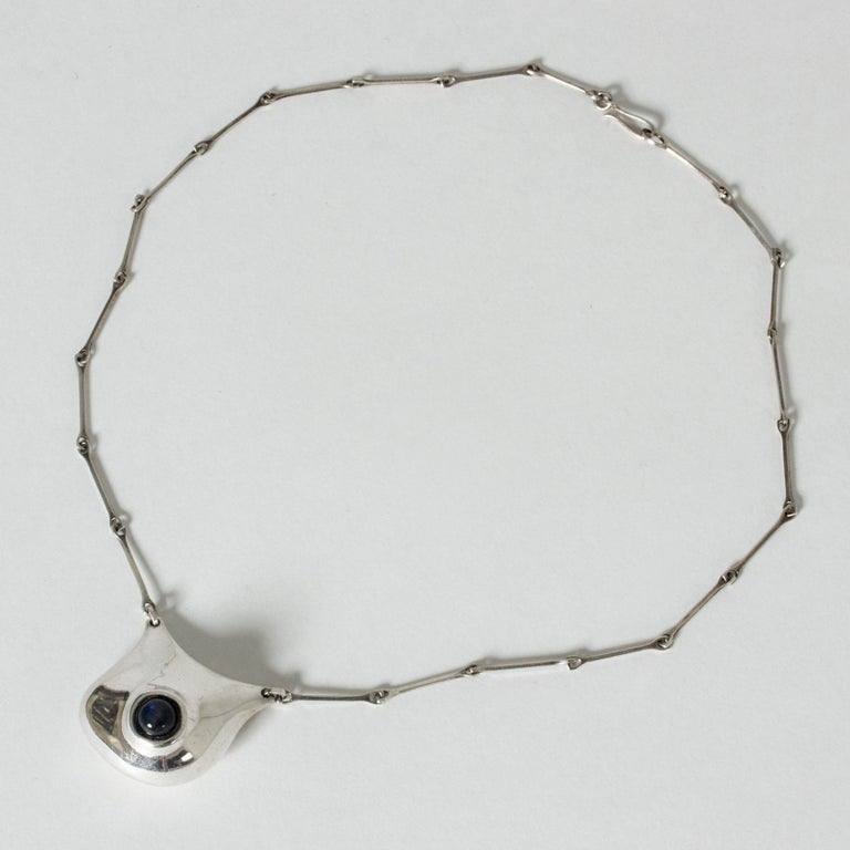 Ball Cut Silver and Labradorite Necklace by Björn Weckström for Lapponia, Finland, 1980 For Sale